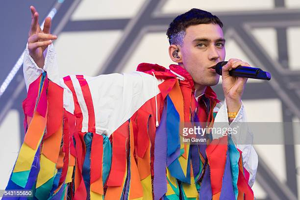 Olly Alexander of 'Years And Years' performs on the Other Stage on day 2 of the Glastonbury Festival at Worthy Farm Pilton on June 26 2016 in...