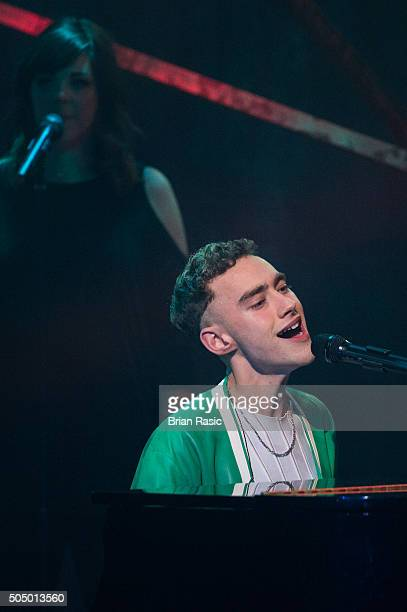 ONLY] Olly Alexander of Years Years performing live at the nominations launch for The Brit Awards 2016 at ITV Studios on January 14 2016 in London...