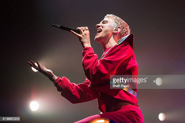 Olly Alexander of Years Years performs at SSE Arena Wembley on April 7 2016 in London England