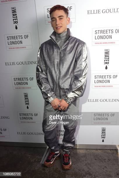 Olly Alexander of Years Years poses backstage at Ellie Goulding's Streets of London Charity Gig at The SSE Arena Wembley on December 20 2018 in...