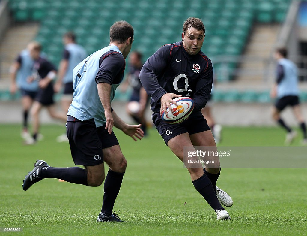 Olly Barkley moves Charlie Hodgson during an England training session held at Twickenham on May 18, 2010 in Twickenham, England.