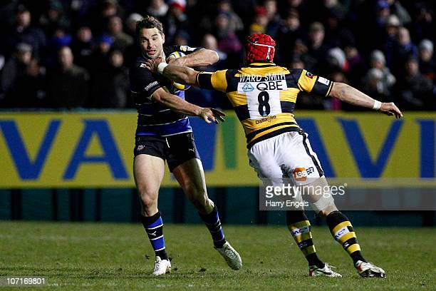 Olly Barkley of Bath is tackled by Dan WardSmith of Wasps during the Aviva Premiership game between Bath and London Wasps at The Recreation Ground on...