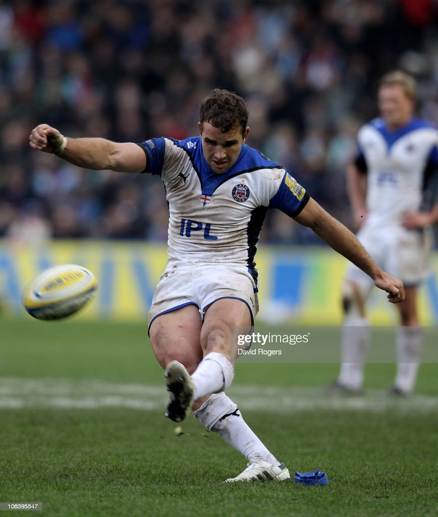 Olly Barkley of Bath kicks a penalty during the Aviva Premiership match between Harlequins and Bath at the Stoop on October 31, 2010 in Twickenham, England.
