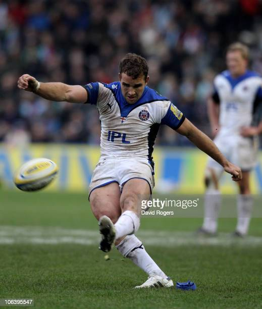 Olly Barkley of Bath kicks a penalty during the Aviva Premiership match between Harlequins and Bath at the Stoop on October 31 2010 in Twickenham...