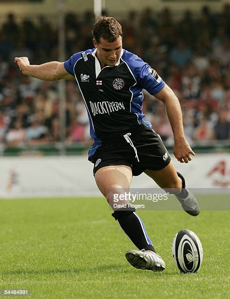 Olly Barkley of Bath kicks a penalty during the Guinness Premiership match between Bristol and Bath at the Memorial Stadium on September 4, 2005 in...