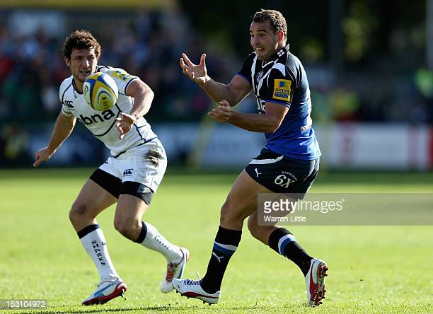 Olly Barkley of Bath passes the ball during the Aviva Premiership match between Bath Rugby and Sale Sharks at Recreation Ground on September 29 2012...