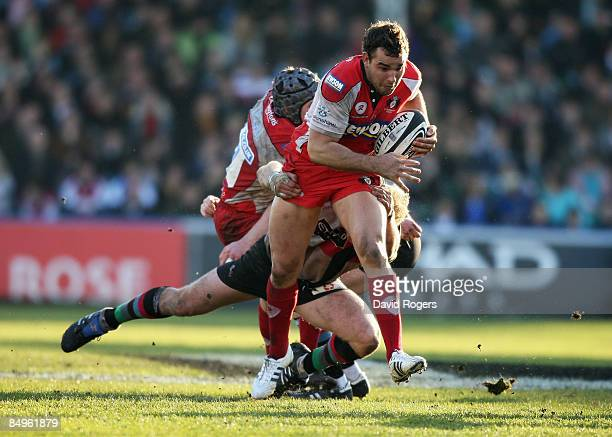Olly Barkley of Gloucester is tackled during the Guinness Premiership match between Harlequins and Gloucester at the Stoop Ground on February 21 2009...