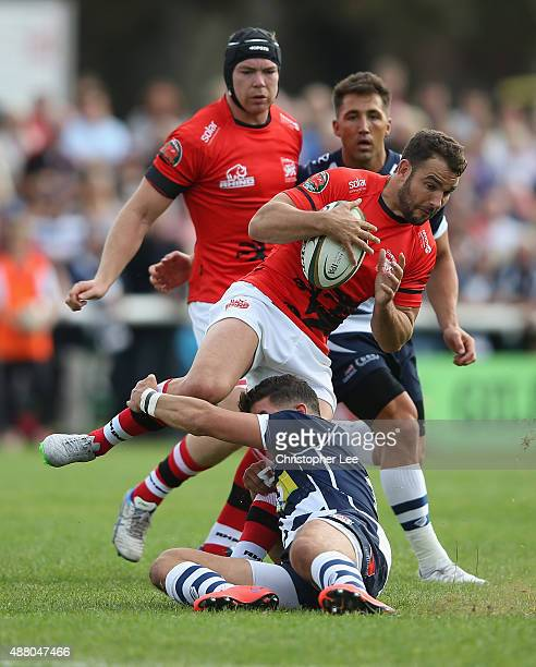 Olly Barkley of London Welsh is tackled by Ben Mosses of Bristol during the Greene King IPA Championship match between London Welsh and Bristol at...