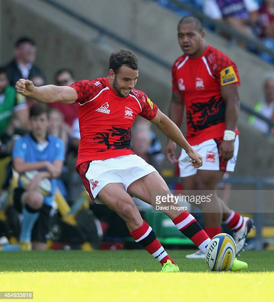 Olly Barkley of London Welsh kicks a penalty during the Aviva Premiership match between London Welsh and Exeter Chiefs at the Kassam Stadium on...