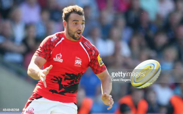 Olly Barkley of London Welsh passes the ball during the Aviva Premiership match between London Welsh and Exeter Chiefs at the Kassam Stadium on...