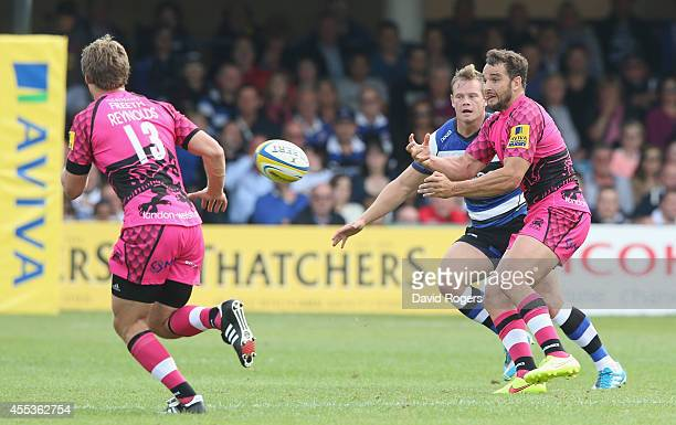 Olly Barkley of London Welsh passes the ball during the Aviva Premiership match between Bath and London Welsh at the Recreation Ground on September...