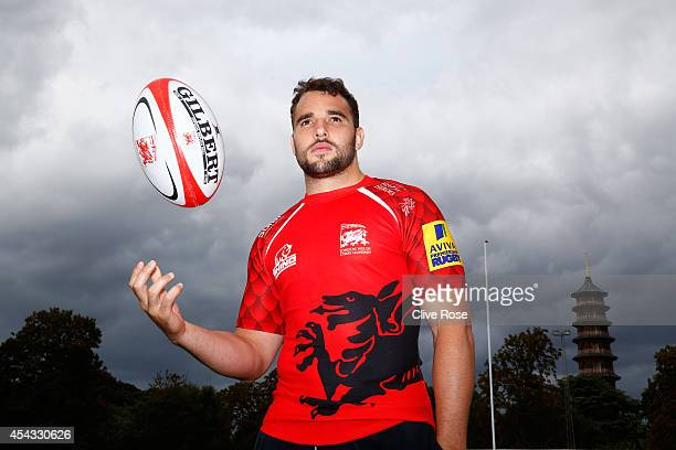 Olly Barkley of London Welsh poses for a portrait during the London Welsh Photocall at Old Deer Park on August 29 2014 in Richmond England