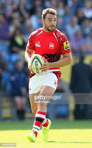 Olly Barkley of London Welsh runs with the ball during the Aviva Premiership match between London Welsh and Exeter Chiefs at the Kassam Stadium on...