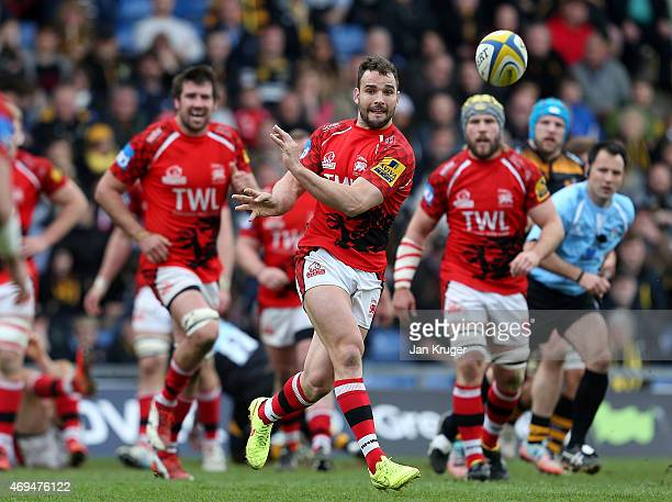 Olly Barkley of London Welsh spins the ball out during the Aviva Premiership match between London Welsh and Wasps at Kassam Stadium on April 12 2015...