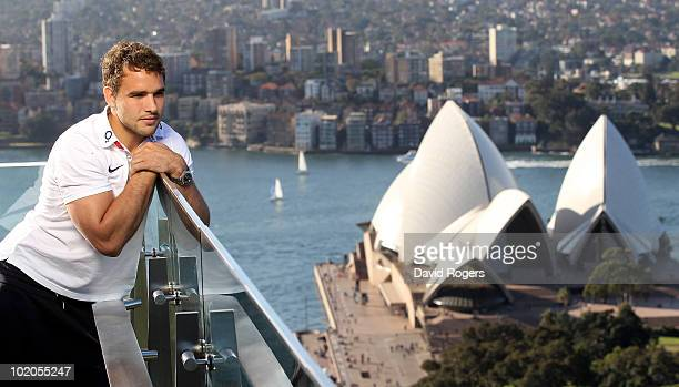 Olly Barkley the England centre looks out from the roof of the Intercontinental Hotel over the Sydney Opera House on June 14 2010 in Sydney Australia