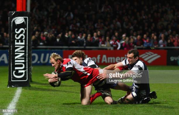 Olly Morgan of Gloucester dives in to score a try during the Guinness Premiership Match between Gloucester Rugby and Bristol Rugby at Kingsholm...
