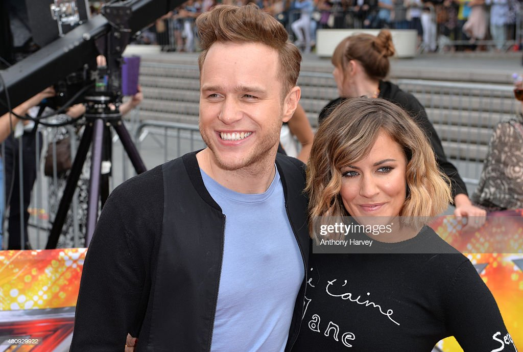 Olly Murs and Carline Flack attend the London auditions of The X Factor at SSE Arena on July 16, 2015 in London, England.