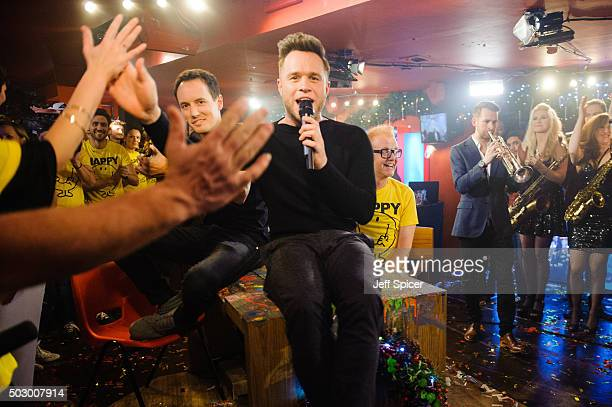 Olly Murs and Chris Evans during the recording of 'TFI Friday' New Year's Eve special at the Cochrane Theatre on December 31 2015 in London England