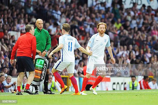 Olly Murs and Damian Lewis play during Socce Aid at Old Trafford on June 5, 2016 in Manchester, England.