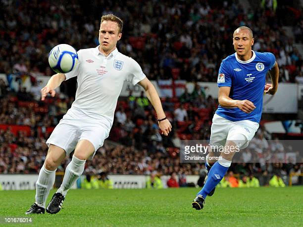 Olly Murs and Zinedine Zidane participate in Soccer Aid in aid of UNICEF at Old Trafford on June 6 2010 in Manchester England