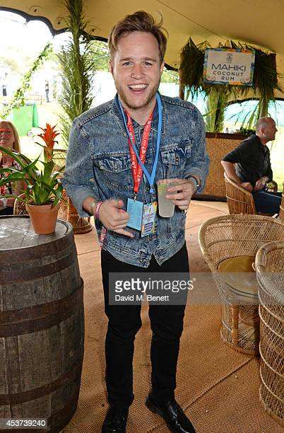 Olly Murs attends the Mahiki Rum Bar for the launch of the Mahiki Rum Family backstage during day 2 of the V Festival 2014 at Hylands Park on August...
