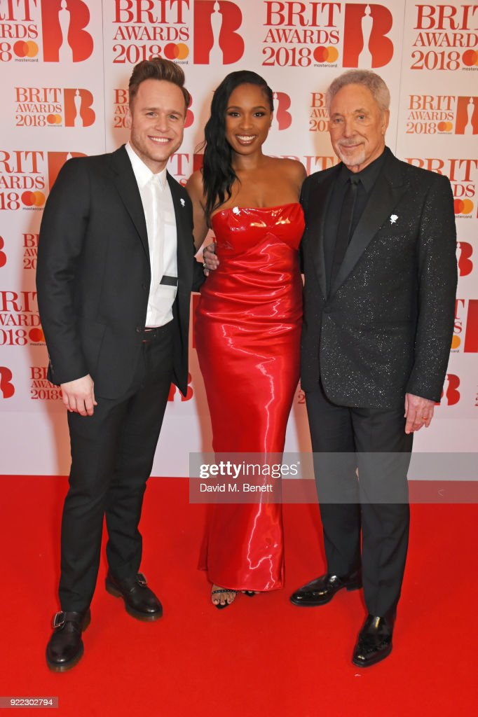 Olly Murs, Jennifer Hudson and Sir Tom Jones attend The BRIT Awards 2018 held at The O2 Arena on February 21, 2018 in London, England.