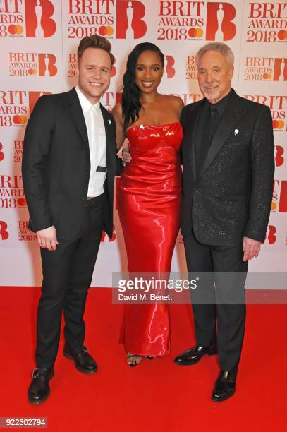 AWARDS 2018 *** Olly Murs Jennifer Hudson and Sir Tom Jones attend The BRIT Awards 2018 held at The O2 Arena on February 21 2018 in London England