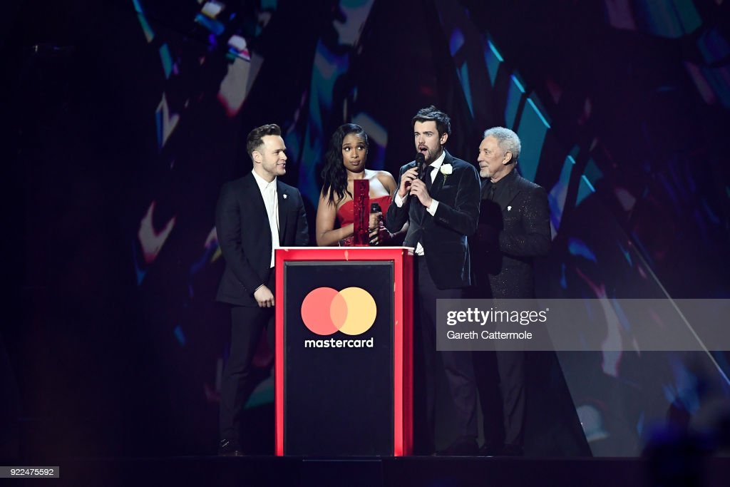 Olly Murs, Jennifer Hudson, Jake Whitehall and Tom Jones on stage at The BRIT Awards 2018 held at The O2 Arena on February 21, 2018 in London, England.