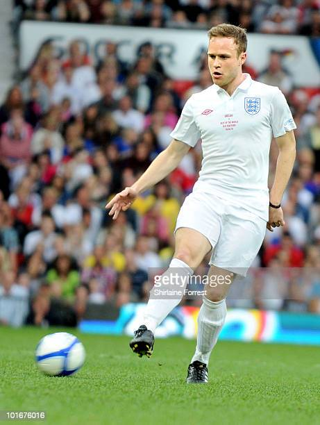 Olly Murs participates in Soccer Aid in aid of UNICEF at Old Trafford on June 6, 2010 in Manchester, England.