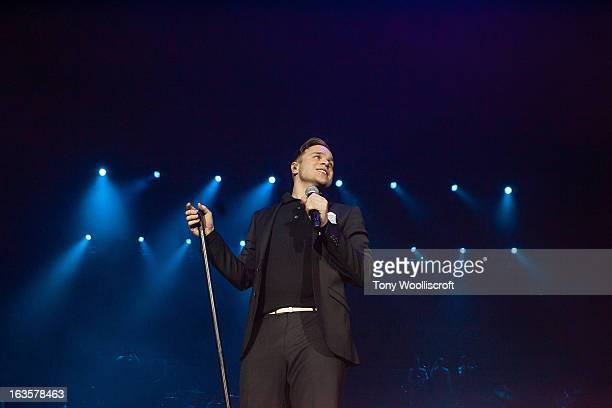 Olly Murs performs at LG Arena on March 12 2013 in Birmingham England