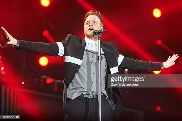 Olly Murs performs on stage at Motorpoint Arena on March 31 2015 in Sheffield United Kingdom