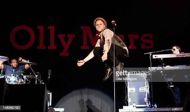 Olly Murs performs on stage headlining day 2 of Guilfest at Stoke Park on July 14 2012 in Guildford United Kingdom