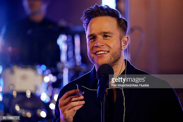 Olly Murs rehearses for a live appearance on the BBC One Show on December 16 2015 in London England