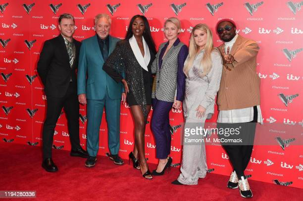 Olly Murs Sir Tom Jones Aj Odudu Emma Willis Meghan Trainor and William attend The Voice UK 2019 photocall at The Soho Hotel on December 16 2019 in...