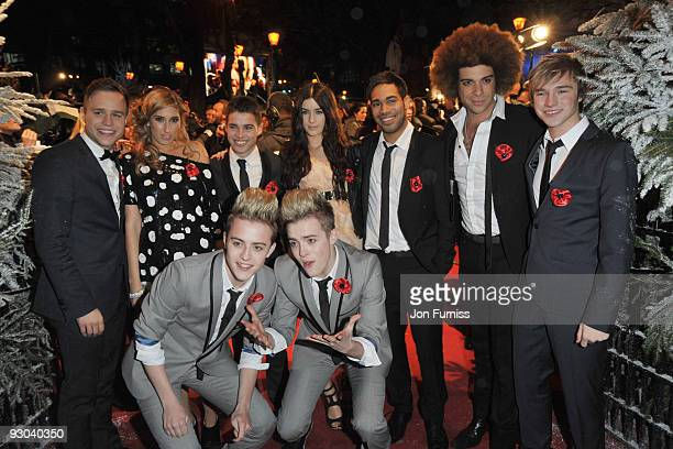 Olly Murs Stacey Solomon Joe McElderry Lucie Jones Danyl Johnson Jamie Archer Lloyd Daniels John and Edward Grimes of the X Factor attend the World...