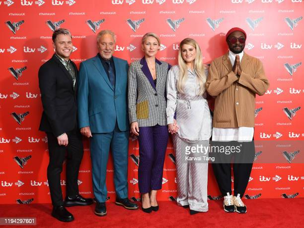 Olly Murs Tom Jones AJ Odudu Emma Willis Meghan Trainor and william attend the new series launch of The Voice UK 2019 at The Soho Hotel on December...
