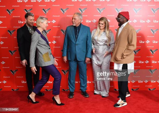 Olly Murs Tom Jones Emma Willis Meghan Trainor and william attend the new series launch of The Voice UK 2019 at The Soho Hotel on December 16 2019 in...