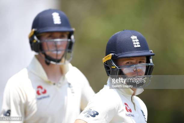 Olly Pope and Zak Crawley of England during day three of the tour match between SLC Board President's XI and England at Chilaw Marians Cricket Club...