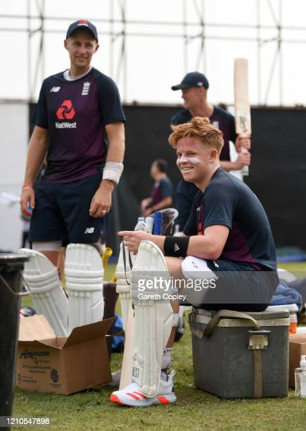 Olly Pope of England waits to bat alongside Joe Root during a nets session at Premadasa Cricket Stadium on March 05, 2020 in Colombo, Sri Lanka.