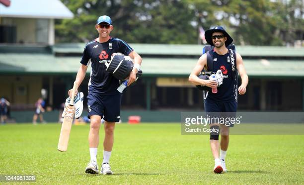 Olly Stone and Mark Wood of England walk to the nets during a nets session at P Sara Oval on October 3 2018 in Colombo