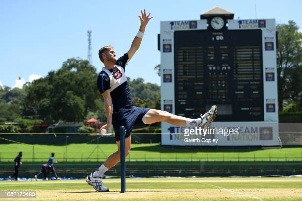 Olly Stone of England bowls during a nets session at Pallekele International Cricket Stadium on October 15 2018 in Kandy