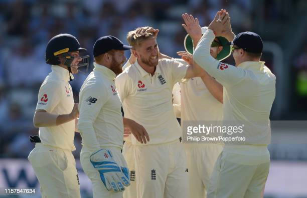 Olly Stone of England celebrates after dismissing Andy Balbirnie of Ireland during day one of the Specsavers Test Match between England and Ireland...
