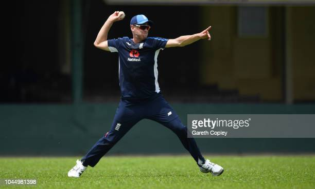 Olly Stone of England throws during a nets session at P Sara Oval on October 3 2018 in Colombo
