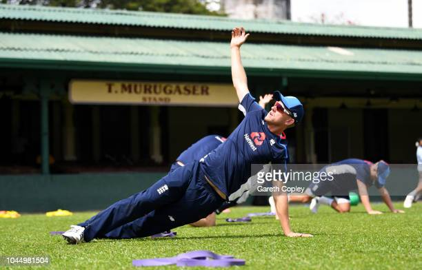 Olly Stone of England warms up during a nets session at P Sara Oval on October 3 2018 in Colombo