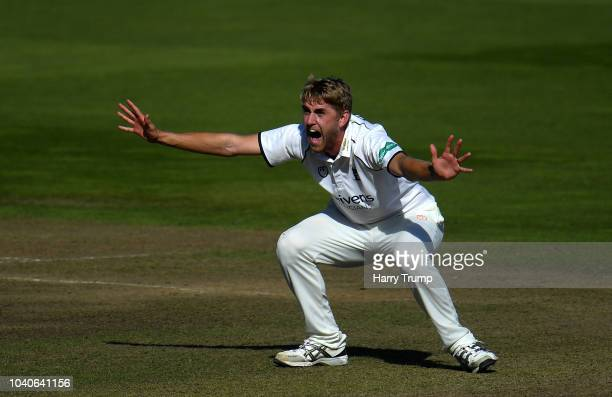 Olly Stone of Warwickshire appeals during Day Three of the Specsavers County Championship Division Two match between Warwickshire and Kent at...