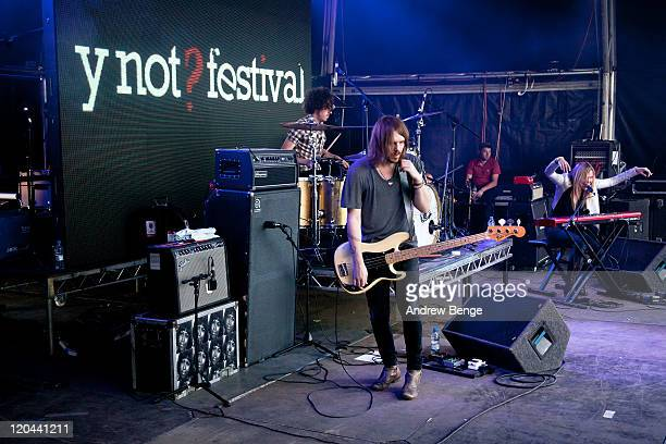 Olly 'The Kid' Betts Marc Sallis and Liela Moss of The Duke Spirit performs on stage during the first day of YNot Festival 2011 on August 5 2011 in...