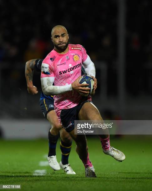 Olly Woodburn in action during the European Rugby Champions Cup match between Exeter Chiefs and Leinster Rugby at Sandy Park on December 10 2017 in...