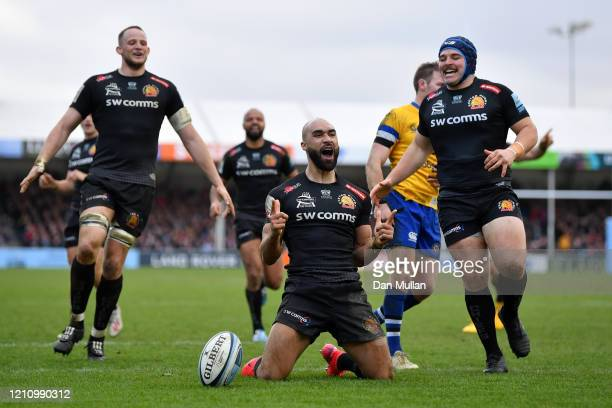 Olly Woodburn of Exeter Chiefs celebrates after scoring his side's seventh try during the Gallagher Premiership Rugby match between Exeter Chiefs and...
