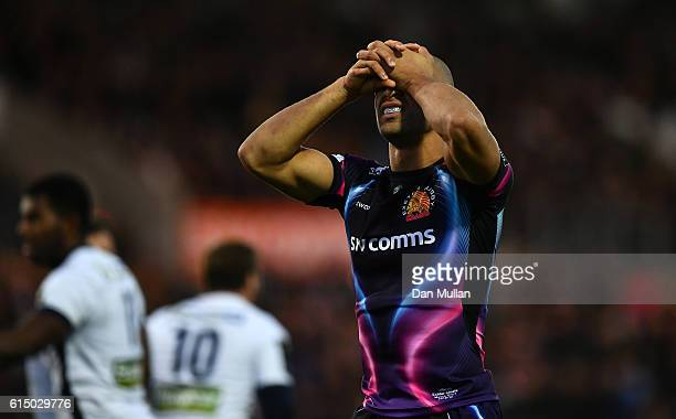 Olly Woodburn of Exeter Chiefs reacts after Clermont Auvergne score their third try during the European Rugby Champions Cup match between Exeter...