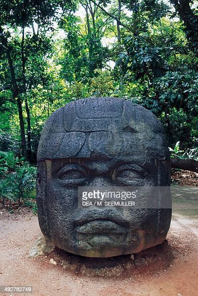 Olmec colossal head 8th century BC La Venta Park archaeological site Villahermosa Mexico